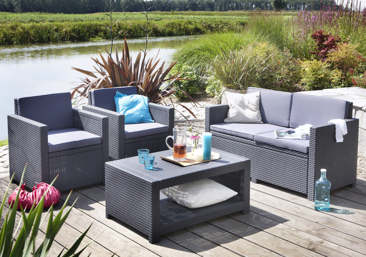 allibert monaco gartenm bel loungeset sitzgruppe m bel m belset terassenm bel ebay. Black Bedroom Furniture Sets. Home Design Ideas